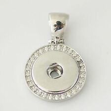 Fits Ginger Snaps SNAP PENDANT Silver Charm Round Necklace Interchangeable 18mm