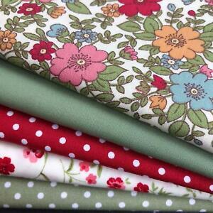 Rose & Hubble - 100% Cotton Fabrics Red & Sage- 5 piece FAT QUARTER bundle