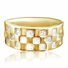 Simulated Diamond Genuine Solid 9K Yellow Gold Engagement Wedding Mens Ring Band