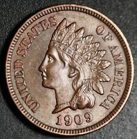1909 INDIAN HEAD CENT - AU+ UNC - With HINTS OF MINT LUSTER!