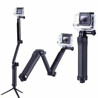3 Way Bracket Monopod Selfie Stick Camera Tripod Mount For GoPro Hero 4 3+ 3 2