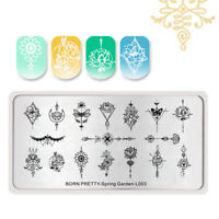 BORN PRETTY Nail Stamping Plates Flower Arrow Image Stencil Spring Garden-L003