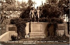 Tom Sawyer and Huck Finn Statue Cardiff Hill Hannibal Missouri RPPC