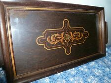 ANTIQUE ART NOUVEAU small TRAY wooden w/ glass top serving table tray vintage