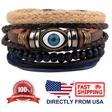 Evil Eye and Tribal Wood Beads Leather Men Women Wristband Bracelet 4pcs Set