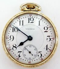 *1908 WALTHAM VANGUARD 16S 23J 5 ADJUSTS 10K RGP POCKET WATCH, WORKING.