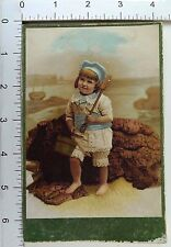 Large Victorian Christmas Trade Card Poem Back Adorable Child Beach Clothes *B