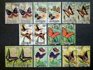 Malaysia 1970 Butterfly Butterflies Complete Set All Block Of 2 - 16v Used