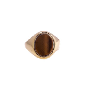 Pre-Owned Men's Oval Tigers Eye Signet Ring
