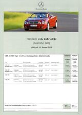 Mercedes CLK Cabriolet Preisliste 2001 29.1.01 6 S. price list 200 230 K 320 430
