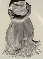 Silber Glitzer Schal, schön schwingende Fransen, funkelnder Glimmer + Glamour !!
