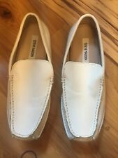 Men's Steve Madden white  leather driving moccasin shoes size 8.5