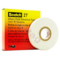 3M Scotch Cloth Electrical Tape, Glass 27- Size 1/2 in X 66 ft. White Color