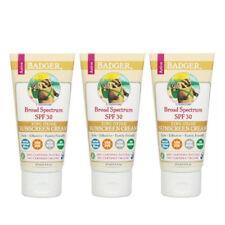 3 Paquet Badger Biologique Naturel SPF 30 Crème Solaire sans Parfum 86ml Chaque