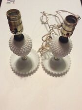 Small Vintage Pair Of Milk Glass Hobnail Bedroom Lamps
