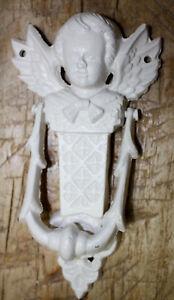 Cast Iron Antique Style VICTORIAN ANGEL Door Knocker WHITE Finish Cherub