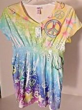 JUSTICE Tie Dye Peace Sign Top Girls Size 18 NWT MSRP $28.90