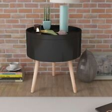 Modern Side Coffee Table Storage Decor with Round Serving Tray 39.5x44.5cm Black