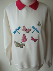 LADIES,WOMENS,LADYS,CREAM EMBROIDERED SWEATSHIRTS,TOPS,JUMPER,WITH, BUTTERFLIES