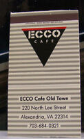 Rare Vintage Matchbook Cover T2 Alexandria Virginia Ecco Cafe Old Town Lee St