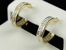 10K Womens Ladies Yellow Gold Rounnd Cut Diamond Pave Hoops Earrings