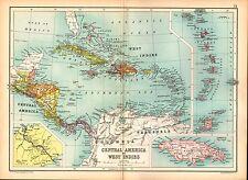 1909 MAP ~ CENTRAL AMERICA & WEST INDIES JAMAICA CUBA HAITI PANAMA