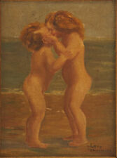 N. Long and V. Heermann Children Kissing Painting Orig