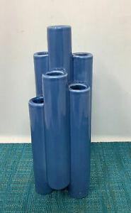 "Vintage 7 chamber Bud VASE blue- 9"" tall"