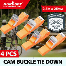 4Pc Heavy Duty Cam Buck Tie Down Strap 25mm x 2.5m Strap Retractable Trailer New