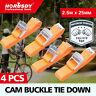 4Pc Heavy Duty Cam Buck Tie Down Strap 25mm x 2.5m Strap Retractable Trailer New