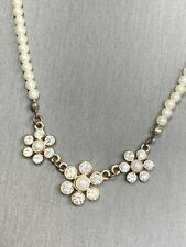 """Clear Rhinestone Pearl Rhinestone Pendant Necklace Wedding  Prom Flower Girl 16"""""""