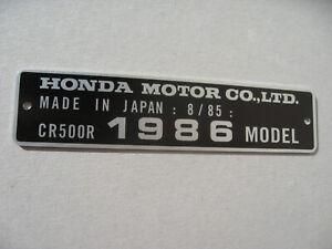 HONDA CR500R 1986 MODEL date 8/85 TAG FRAME VIN ALU PLATE not decal