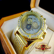 Khronos/Joe Rodeo 1 Row Hexagon Bezel Custom Iced Out Band Diamond Watch Yellow