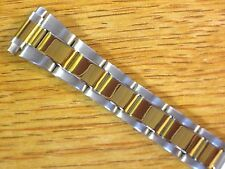 Oyster Style Ladies Two Tone 10-13mm Stainless Steel Metal Watch Link Bracelet
