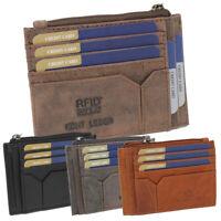 Leder Minibörse Geldbörse Kartenbörse Kartenfächer Etui klein Damen Herren RFID