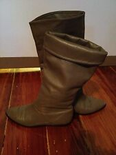 Vintage Taupe Leather Slouchy Pirate Boots 1980s Size 5.5