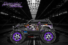 "TRAXXAS SUMMIT GRAPHICS WRAP DECALS ""LUCKY"" FOR OEM BODY PARTS PURPLE & BLACK"