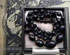 ANTIQUE VICTORIAN VULCANITE JET BLACK BEADS MOURNING NECKLACE RARE COLLECTOR