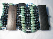 of Turquoise and Blue Beads Elasticated Ethnic Anklet of 10 Strings