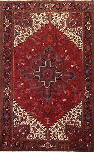 Vintage Geometric Heriz Hand-knotted Area Rug Dining Room Oriental Carpet 8'x11'