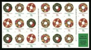 Holiday Wreaths Christmas Booklet Pane of Twenty 32 Cent Stamps Scott 3252e