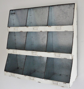 Vintage 9 Pigeon Hole Wall Unit Storage Shelving Cupboard Cabinet Distressed