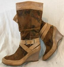 Felmini Brown Mid Calf Leather Beautiful Boots Size 41 (22vv)