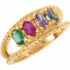 Birthstone Ring 14kt Yellow Gold / White Gold Four Stone Pick Your Birthstones
