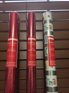 HALLMARK INSPIRATIONS CHRISTMAS WRAPPING PAPER Foil Lot Of 3 ( 90 Sq. Ft.)....4
