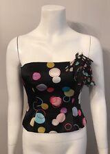 Stunning Kay Unger Black Pink White Polka Dot Silk Bustier Strapless Top Size 2
