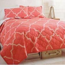 RARE 3 pc Target Threshold Coral Geo Lattice King Quilt Set w/ Std Shams Cotton