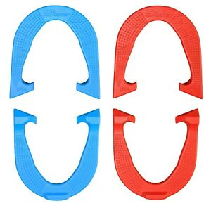 Six Shooter Durable Pro Pitching Horseshoes- 2 Pair, Red/Blue, Made in USA