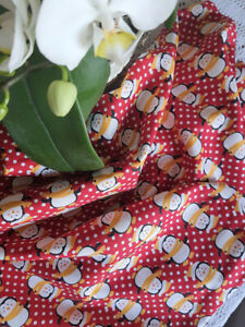 1m new festive RED WHITE YELLOW fabric/material Xmas Christmas penguins