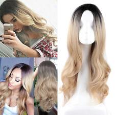Femmes Cheveux Longue Ondulée Bouclés Cosplay Wig Perruque Hair Blonde Partie